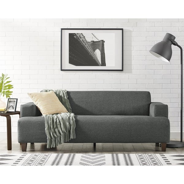 Shop Novogratz Benji Cozy Grey Couch Free Shipping Today