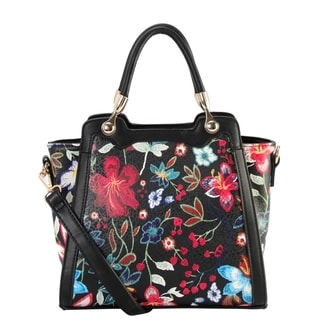 Diophy PU Leather Floral Embroidered Printed Pattern Medium Tote Handbag