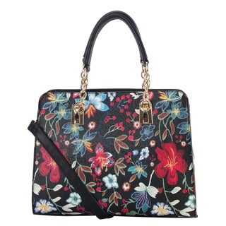 Diophy PU Leather Floral Embroidered Pattern Large Tote Handbag