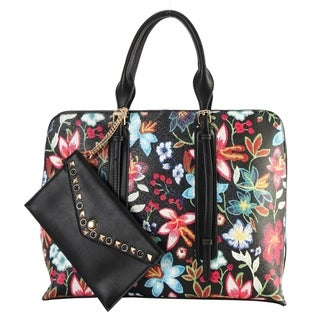 Diophy Floral Embroidered Printed Pattern Large Tote Handbag with Studded Wallet