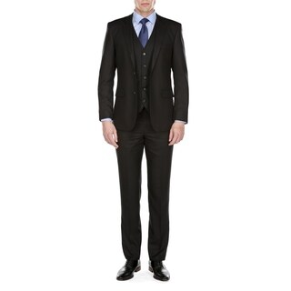 Gino Vitale Men's Modern Fit Glen Plaid 3 Piece Suit