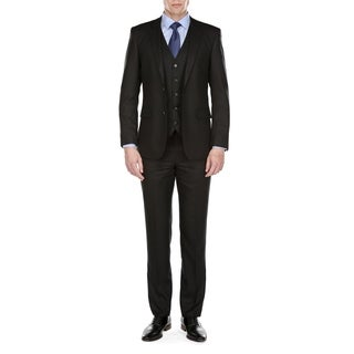 Gino Vitale Men's Modern Fit Glen Plaid 3 Piece Suit