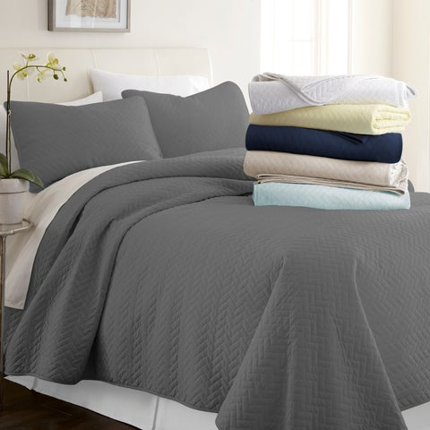Merit Linens Premium Ultra Soft Herring Pattern Quilted Coverlet Set