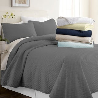 Merit Linens Premium Ultra Soft Herring Pattern Quilted Coverlet Set (More options available)