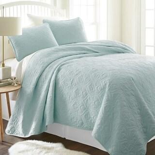 Merit Linens Premium Ultra Soft Damask Pattern Quilted Coverlet Set