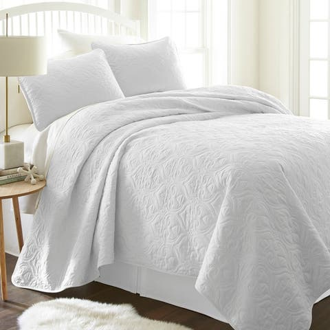 Merit Linens Premium Ultra Soft Damask Pattern Quilted Coverlet Set