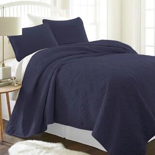 Merit Linens Premium Ultra Soft Damask Pattern Quilted Coverlet Set (Option: King - Navy)