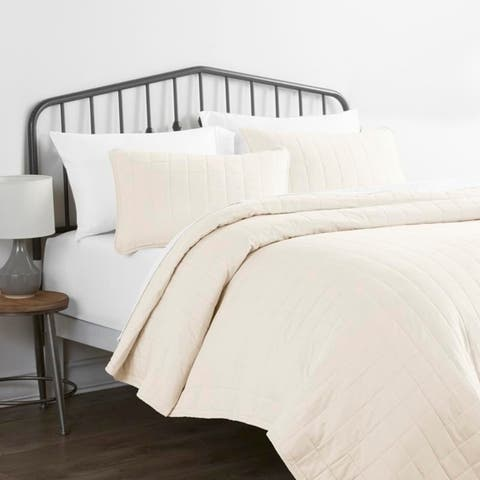 Merit Linens Premium Ultra Soft Square Pattern Quilted Coverlet Set