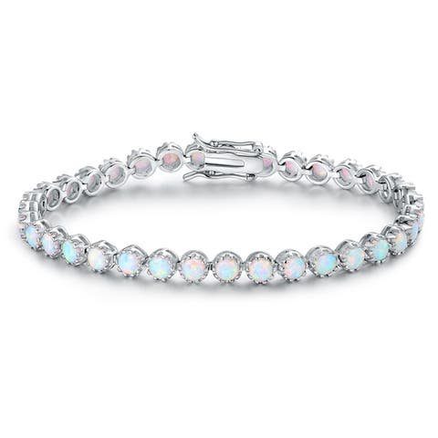 White Gold Plated Fire Opal Crown Bracelet