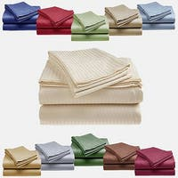 1800 Series Ultra Soft 4-Piece Embossed Stripe Bed Sheet Set
