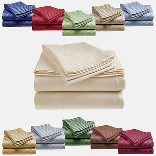 1800 Series Ultra Soft 4-Piece Embossed Stripe Bed Sheet Set