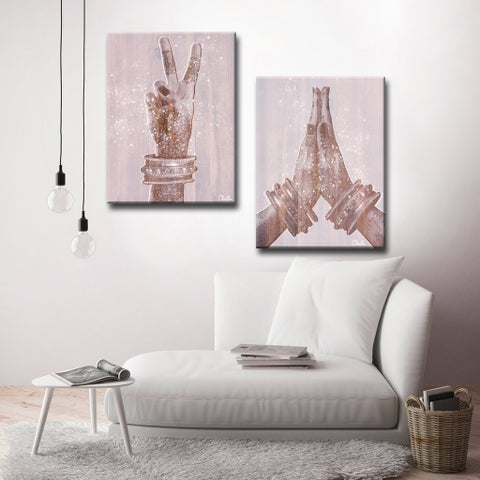 'Peace and Namaste' Inspirational 2-Piece Canvas Wall Art by Olivia Rose - Pink