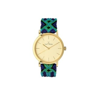 ToyWatch Maya Blue and Green Woven MY01GD