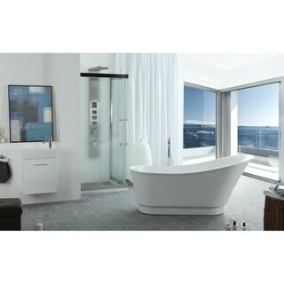 Virtu USA Serenity White Acrylic 67-inch Freestanding Soaking Bathtub