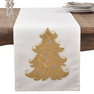 Metallic Christmas Tree Design Holiday Cotton Table Runner