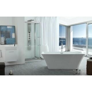 Virtu USA Serenity White Acrylic 59-inch Freestanding Soaking Bathtub