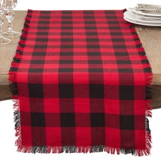 Buffalo Plaid Classic Design Fringed Cotton Table Runner https://ak1.ostkcdn.com/images/products/17432494/P23666495.jpg?impolicy=medium