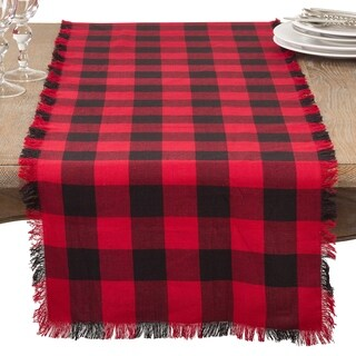 Cotton Runner With Buffalo Plaid And Fringe Design