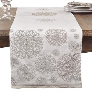 Beaded Medallion Design Elegant Cotton Table Runner