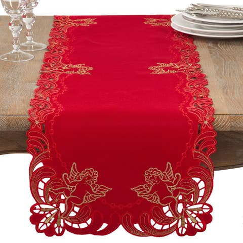 Embroidered Angel Cherub Design Christmas Table Runner