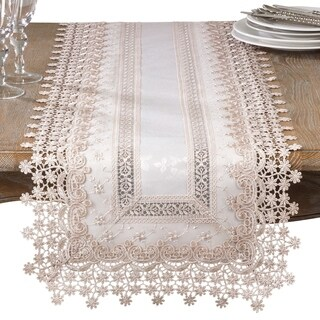 Elegant Embroidered Floral Applique Old Fashioned Style Table Runner