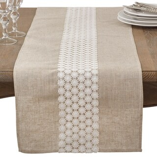 Daisy Lace Design Country Linen Blend Table Runner