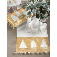 Christmas Tree Design Pom Pom Holiday Cotton Table Runner