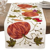 Embroidered Pumpkin Harvest Design Cotton Table Runner