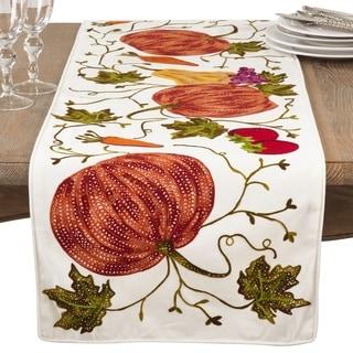 Embroidered Pumpkin Harvest Design Cotton Table Runner