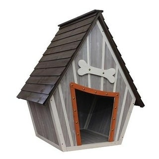 Houses & Paws Whimsical Gray Wood Dog House