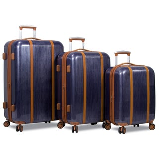 World Traveler Deluxe 3-Piece Hardside Spinner Luggage Set with TSA Lock (3 options available)