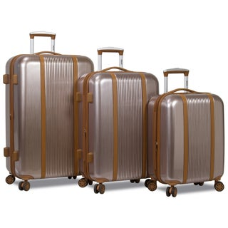 World Traveler Deluxe 3-Piece Hardside Spinner Luggage Set with TSA Lock (Option: Rose Gold)