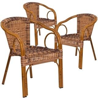 3PK Burning Brown Rattan Restaurant Patio Chair - Dark Red Bamboo-Aluminum Frame