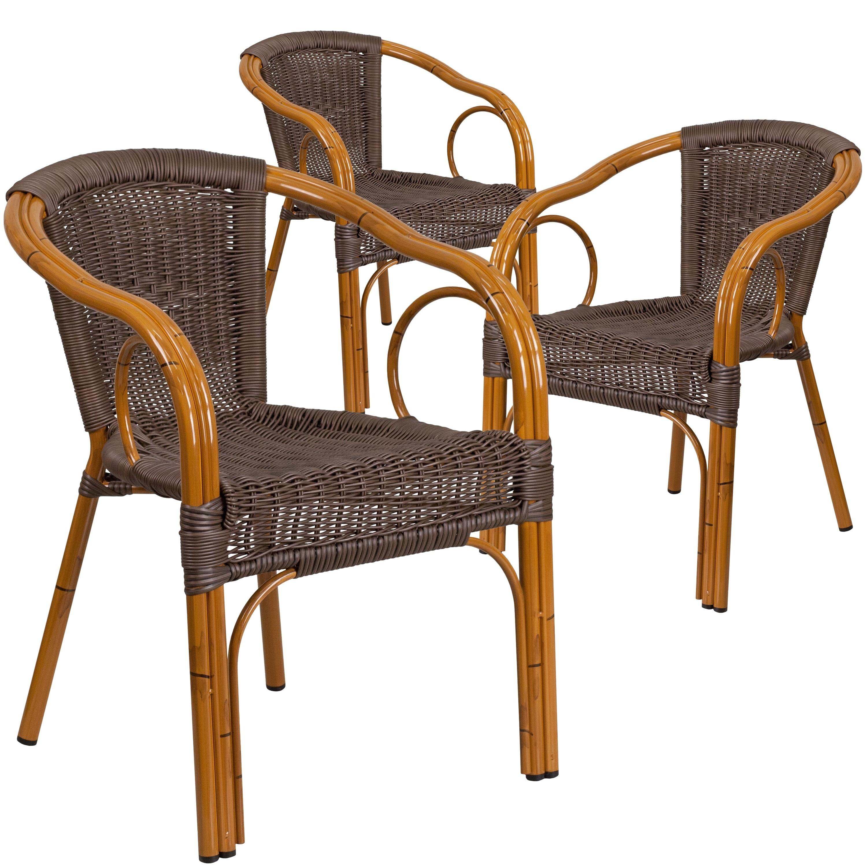 Cadiz Series Rattan Restaurant Patio Chair With Bamboo Aluminum Frame Pack Of 3