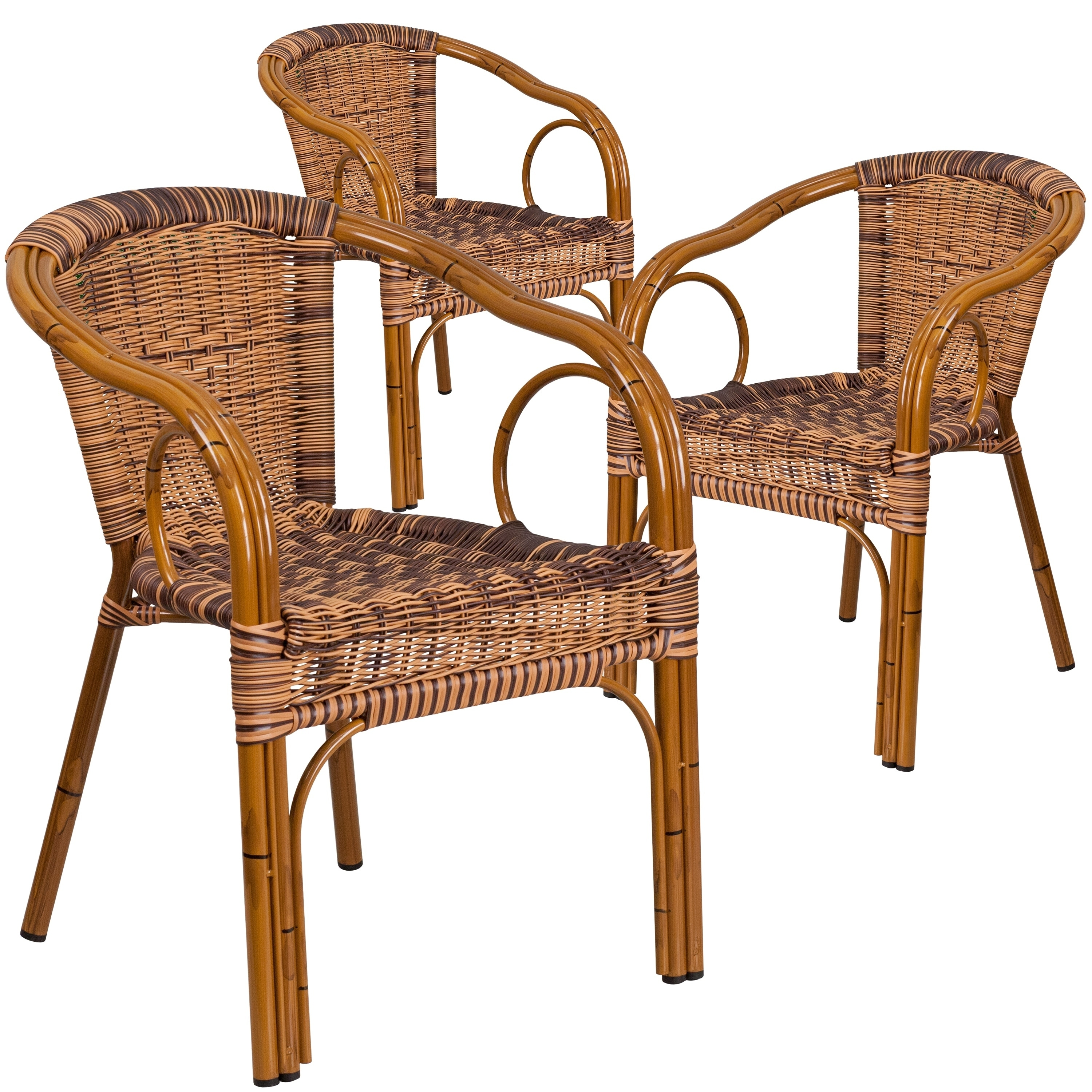 Shop Black Friday Deals On 3 Pack Cadiz Series Rattan Restaurant Patio Chair With Bamboo Aluminum Frame Overstock 17432740