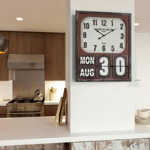 Rectangular Wall Clock with Glass