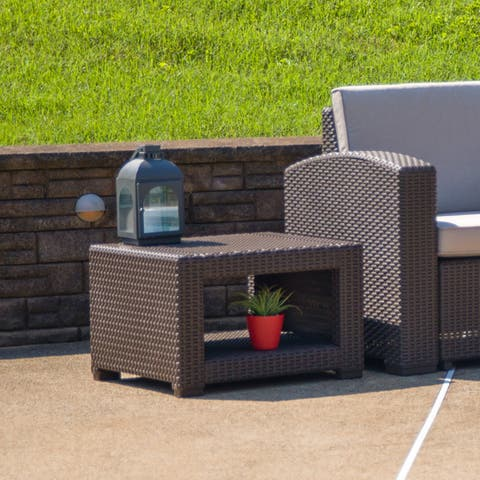 Brown Faux Rattan End Table