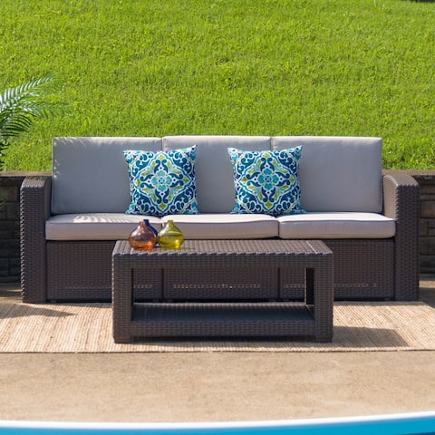Chocolate Brown Faux Rattan Coffee Table - Outdoor Accent Table - Patio Table