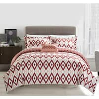 Chic Home Gabi 4-Piece Reversible Ikat Brick Duvet Cover Set