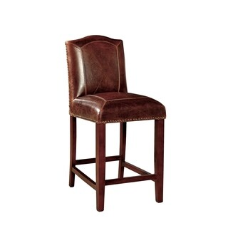 Harrington Double-Stitch Leather Counter Stool