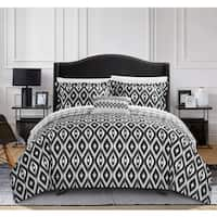 Chic Home Gabi 8-Piece Reversible Black Ikat Duvet Cover and Sheet Set