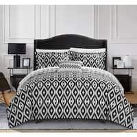 Chic Home Gabi 8-Piece Reversible Black Ikat Duvet Cover and Sheet Set