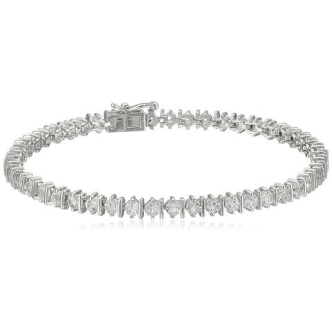 "Sterling Silver White Topaz Round Tennis Bracelet, 7.25"""