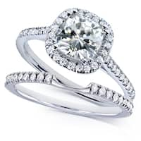 Annello by Kobelli 14k White Gold 1 1/2ct TGW Near Colorless (H-I) Moissanite with Diamond Halo Bridal Rings Set