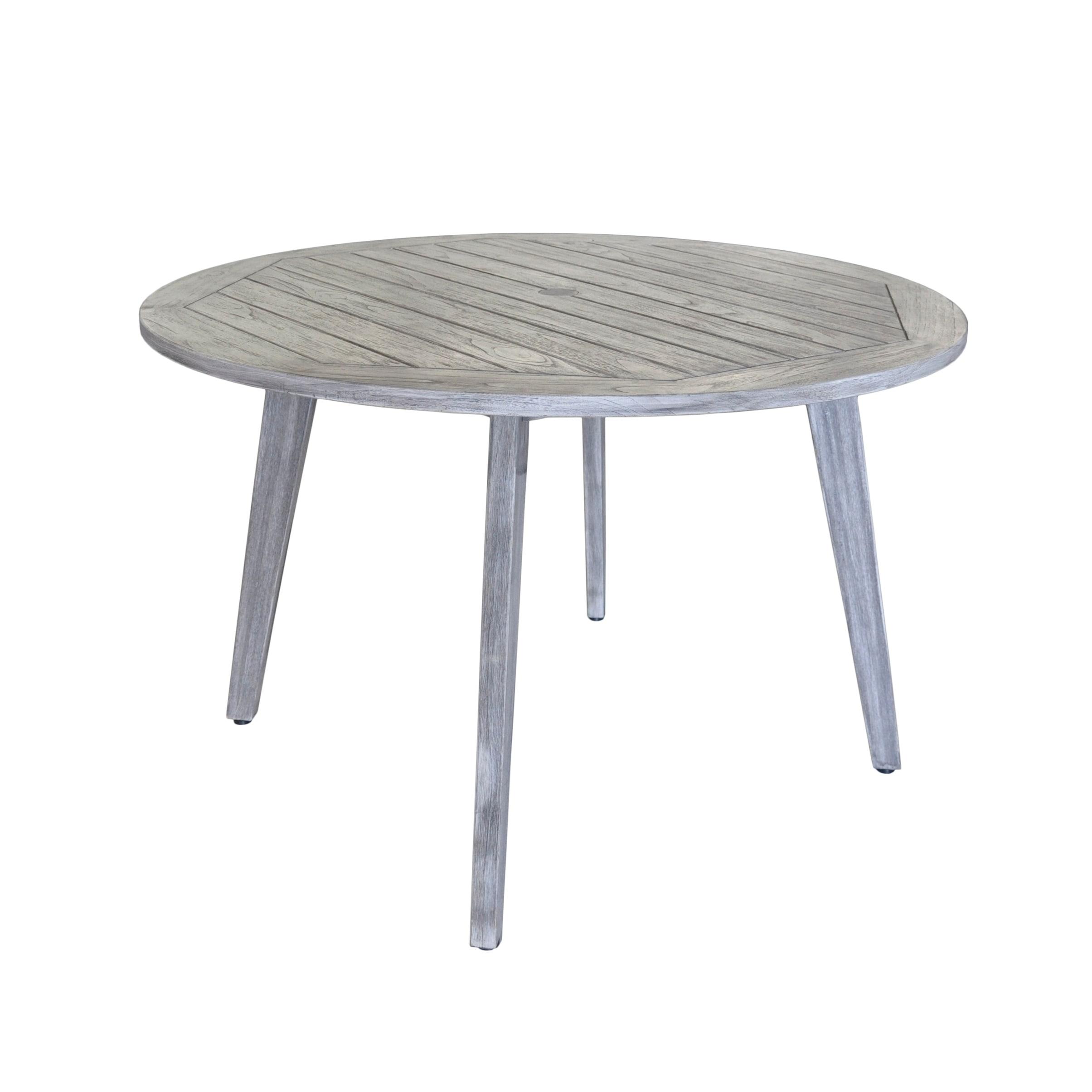 Shop Courtyard Casual Teak La Jolla Outdoor Dining Table W Umbrella - White outdoor dining table with umbrella hole
