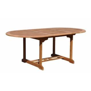 courtyard casual natural finish burma teak outdoor extension table - Garden Furniture Teak