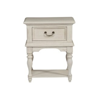 Bayside Antique White with Heavy Wire Brush 1-Drawer Leg Nigtstand