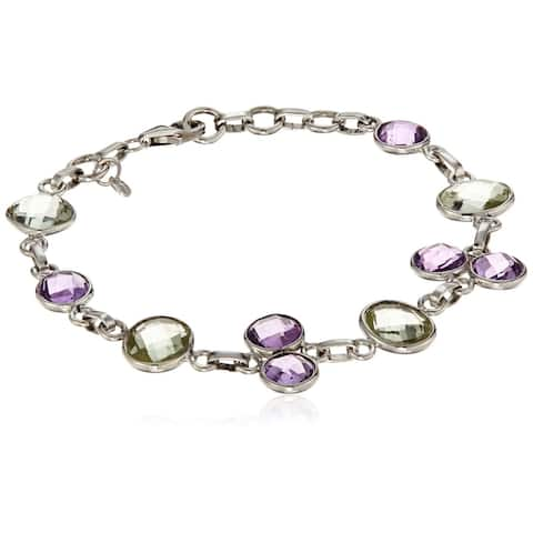 "Sterling Silver Green Amethyst One size Fit All Link Bracelet, 7.25"""