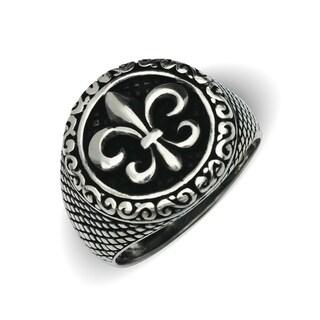 Sterling Silver Men's Black and White Fleur-de-lys Oxidized Bold Ring