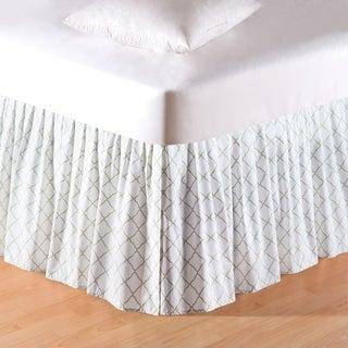 White/Green Lattice King Bed Skirt